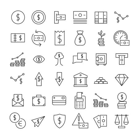 Illustration for Premium set of Finance line icons. Web symbols for web sites and mobile app. Modern vector symbols, isolated on a white background. Simple thin line signs. - Royalty Free Image