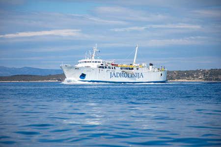 Photo pour Vela Luka, Croatia - 29.03.2021: Jadrolinijas Ferry boat Bartol Kasic on its regular route from island Silba to Olib, Croatia - image libre de droit
