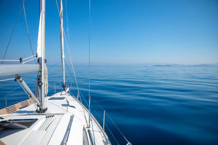 Photo for Sailing luxury yacht in the sea at sunny day, Croatia - Royalty Free Image