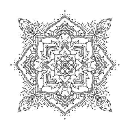 Illustration pour Abstract Mandala. Black and white pattern for adult coloring book. Vintage decorative elements. Oriental pattern, vector illustration. - image libre de droit