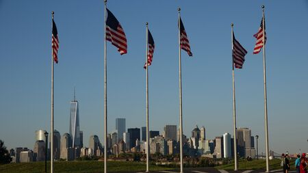 American Flags And Lower Manhattan