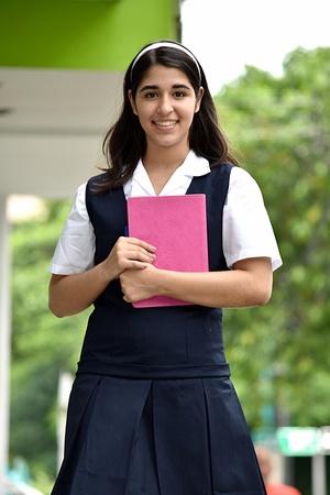 School Girl And Happiness Wearing Uniform