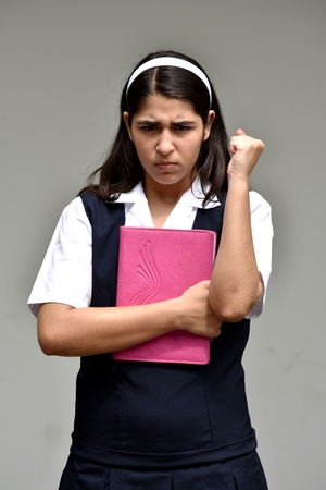 Catholic Colombian Girl Student And Anger Wearing School Uniform