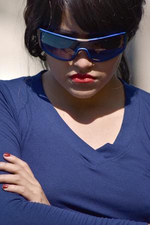Stubborn Pretty Female Wearing Sunglasses