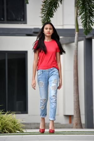 Female With Long Hair Walking