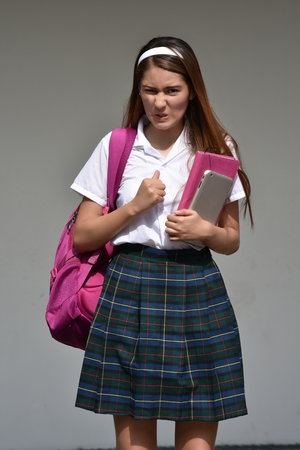 Catholic Female Student And Anger With Books