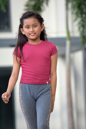 Cute Filipina Female Walking