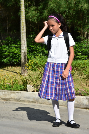 Stressful Asian Girl Student Wearing School Uniform