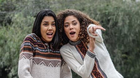 Excited Friends Teen Hispanic Girls
