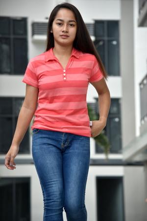 A Minority Female Walking