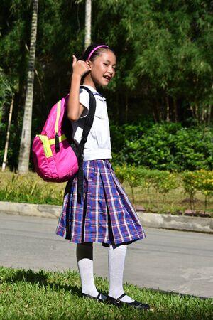Friendly Prep Diverse Person Wearing School Uniform With Books