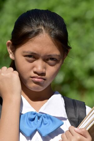 Cute Filipina Female Student And Anger