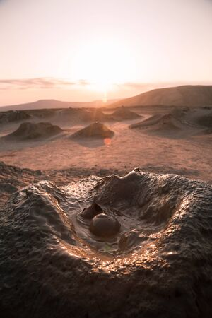 Photo pour Mud volcano in Azerbaijan country as one of attraction place. Natural fenomen. - image libre de droit