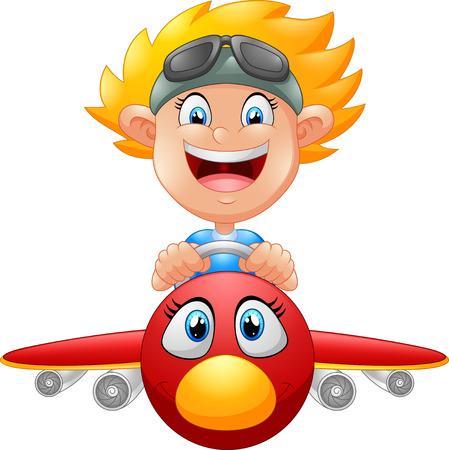 Illustration for Cartoon Boy Flying Plane - Royalty Free Image
