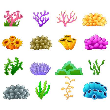 Illustration pour Set of cartoon underwater plants - image libre de droit