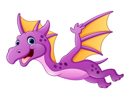 Illustration pour Cute dragon flying - image libre de droit
