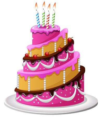 Vektor für Birthday cake cartoon - Lizenzfreies Bild