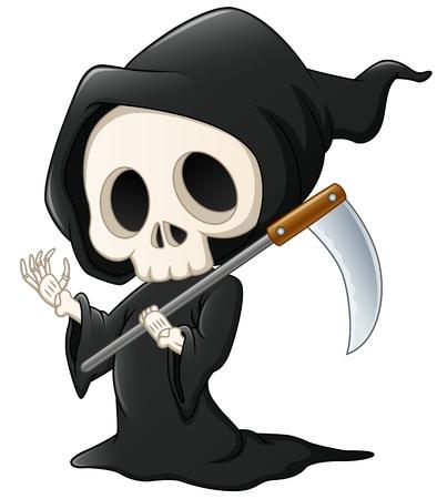 Illustration pour Grim reaper cartoon waving hand - image libre de droit