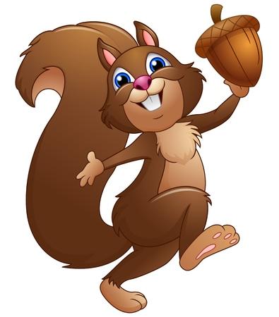 Illustration pour Happy cartoon squirrel holding acorn - image libre de droit