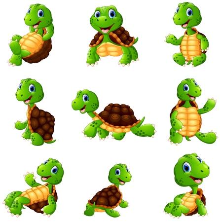 Illustration pour Vector illustration of Happy turtle cartoon collection set - image libre de droit
