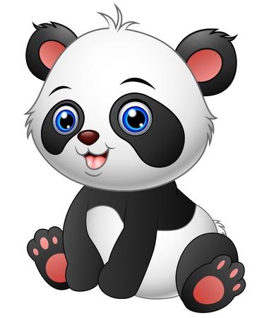 Cute Baby Panda Sitting Royalty Free Vector Graphics