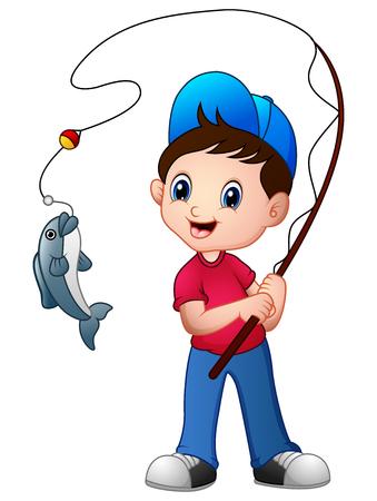 Cute cartoon boy fishing