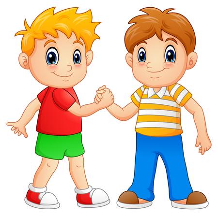Ilustración de Cartoon little boys shaking hands - Imagen libre de derechos