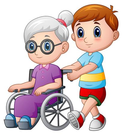 Vektor für Cartoon boy with grandma in wheelchair - Lizenzfreies Bild