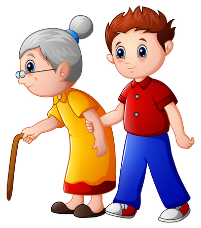 Boy helps old lady and helping her to walk with her cane