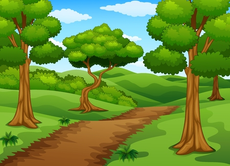 Illustration for Forest scene with dirt trail - Royalty Free Image