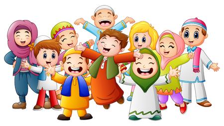 Illustration pour Vector illustration of Happy kids celebrate for eid mubarak - image libre de droit