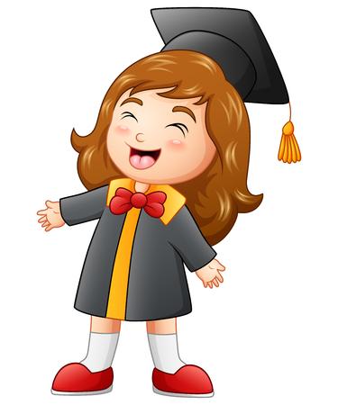 Illustration pour Vector illustration of Happy graduation girl cartoon - image libre de droit