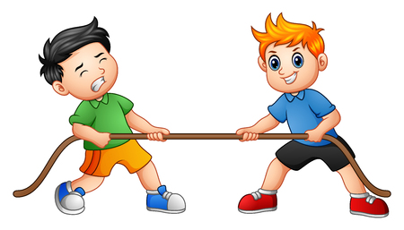 Vector illustration of Cute children playing tug of war