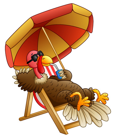 Illustration for A Vector illustration of Cartoon turkey bird sitting on beach chair. - Royalty Free Image