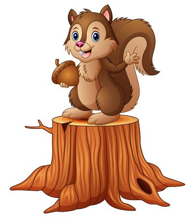Illustration pour Vector illustration of Cartoon squirrel standing on tree stump holding an acorn - image libre de droit