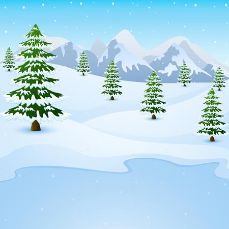 Illustration pour Vector illustration of Winter mountain landscape with fir trees and frozen lake - image libre de droit