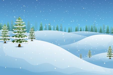 Ilustración de Vector illustration of Winter landscape with fir trees and snowy hills - Imagen libre de derechos