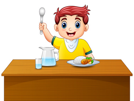 Vektor für Vector illustration of Cartoon happy boy holding spoon on dining table - Lizenzfreies Bild