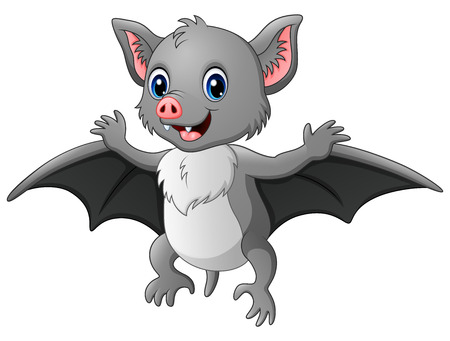 Illustration for Vector illustration of Cute cartoon bat flying - Royalty Free Image