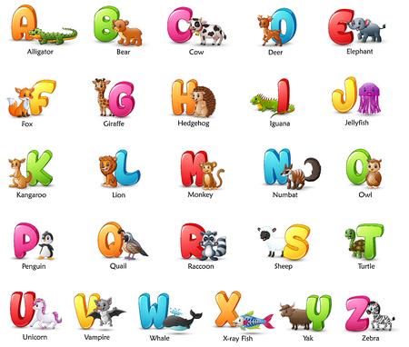 Illustration pour Vector illustration of Cartoon colorful alphabet set with different animals - image libre de droit