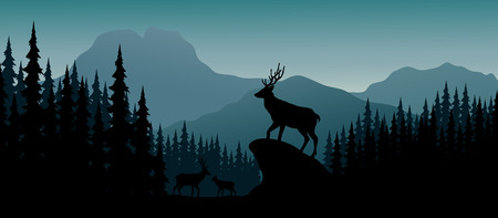 Ilustración de Vector illustration of Silhouette deer in hill at night - Imagen libre de derechos