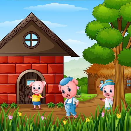 Illustration pour Three little pigs are playing outside house - image libre de droit