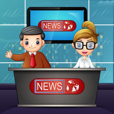 Illustration pour News anchor on television - image libre de droit