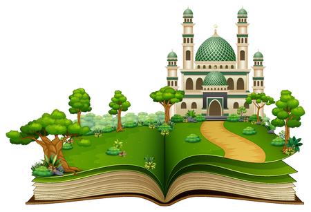Illustration pour Open book with Islamic mosque in the park - image libre de droit