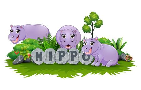 Ilustración de Hippo are playing together in garden - Imagen libre de derechos