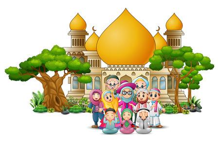 Illustration pour Happy Muslim Kids Cartoon in front of a mosque - image libre de droit