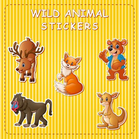 Illustration pour Cute wild animals cartoon on sticker - image libre de droit