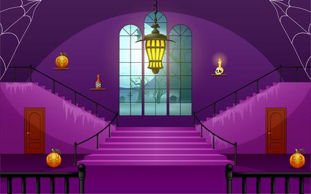 Illustration pour Decoration house of halloween day - image libre de droit