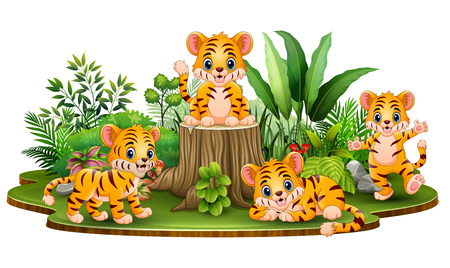 Illustration for Happy baby tiger group with green plants - Royalty Free Image