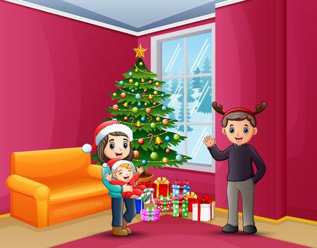 Illustration pour Happy family celebrating a christmas at house - image libre de droit